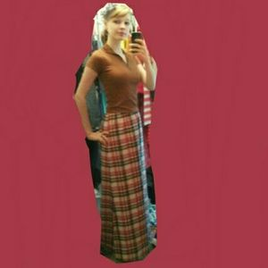 Vintage 70's plaid maxi skirt handmade 60's